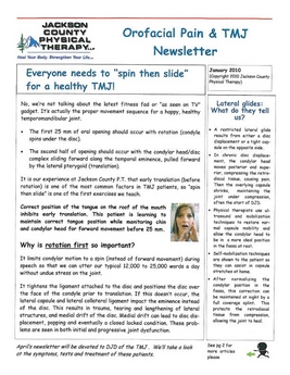 Winter 2009 TMJ Newsletter